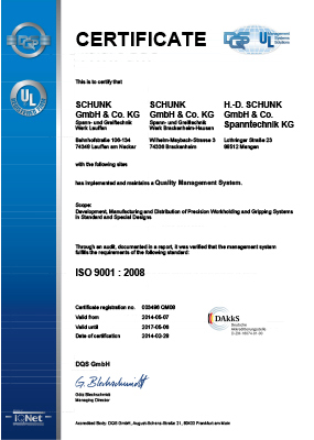 SCHUNK ISO 9001:2014